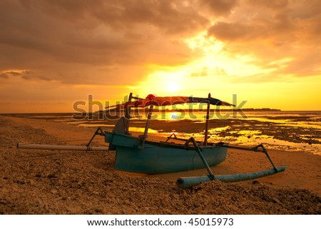 Sunset in Asia at the island Gili Air in Indonesia.