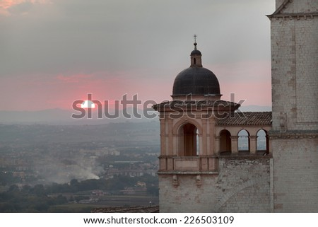 Sunset in Assisi, Umbria at the Cathedral of St Francisc