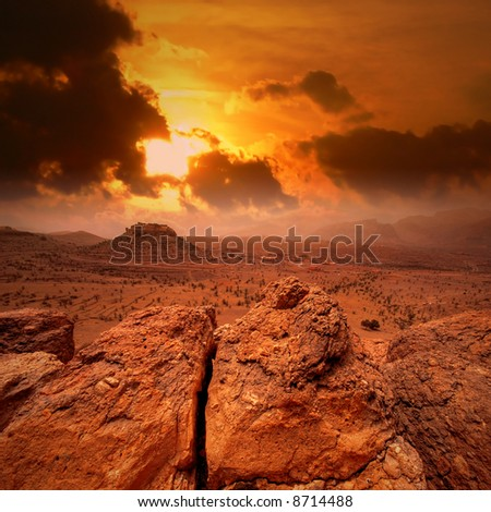Sunset in Atlas mountains, Morocco - stock photo