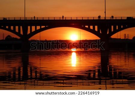 sunset in austin - stock photo