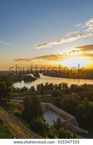 sunset in belgrade,Serbia,panoramic view - stock photo