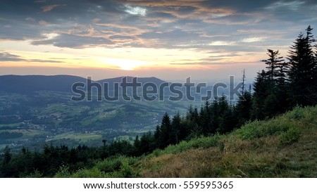 Sunset in Beskidy mountains.