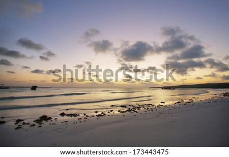 Sunset in Bira beach, South Sulawesi, Indonesia - stock photo