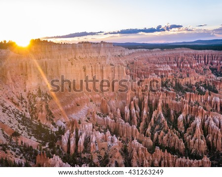 Sunset in Bryce Canyon - stock photo