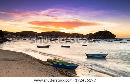 Sunset in Buzios Rio de Janeiro, Brazil - stock photo