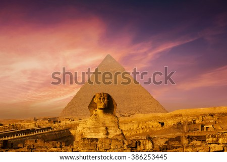Sunset in Cairo, Egypt - stock photo