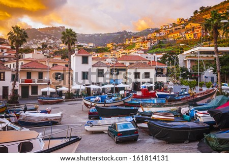 Sunset in Camara de Lobos, Madeira island, Portugal