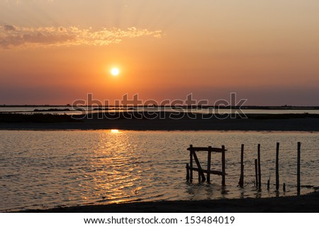 sunset in Camargue, Provence, France - stock photo