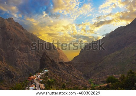 Sunset in canyon Masca at Tenerife island - Canary Spain - stock photo