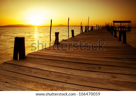 Sunset in Carrasqueira Portugal. - stock photo