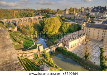 Sunset in center of Luxembourg with ancient ruins - stock photo
