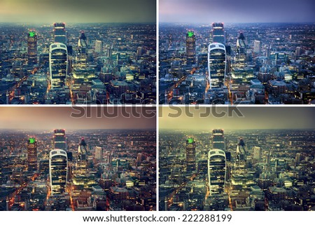 Sunset in city of London, set from colors variation - stock photo