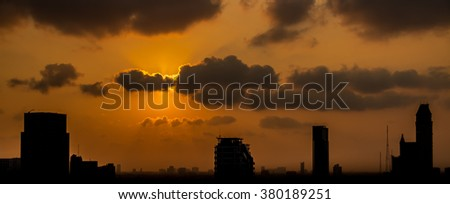Sunset in city silhouette