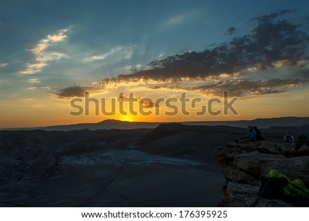 Sunset in Death Valley of Moon Valley in Atacama Desert, Chile - stock photo