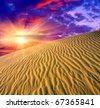 sunset in desert - stock photo