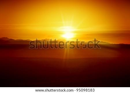 Sunset in Desert - Egyptian Rocky Mountains - stock photo