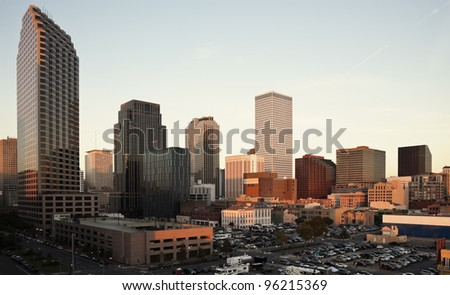Sunset in downtown fo New Orleans, Louisiana, USA - stock photo