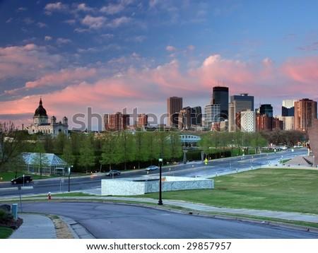 Sunset in downtown Minneapolis - stock photo