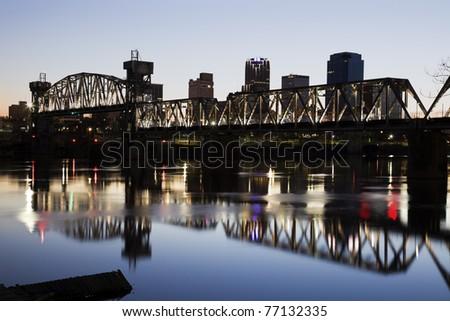 Sunset in downtown of Little Rock, Arkansas, USA - stock photo