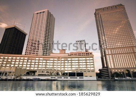 Sunset in Downtown Tampa, Florida. - stock photo