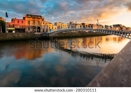 sunset in Dublin - stock photo