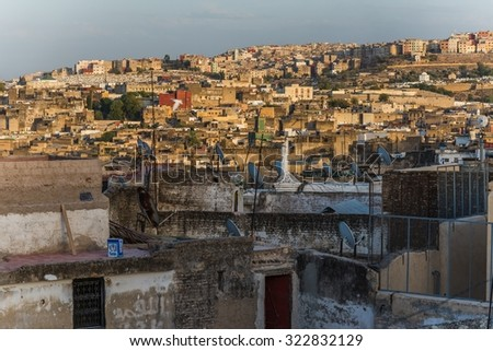sunset in fes - stock photo