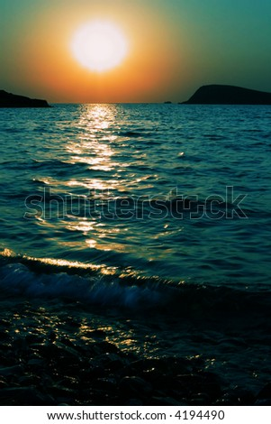 Sunset in Foca, Turkey - stock photo