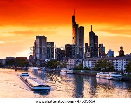 Sunset in Frankfurt am Main, Germany - stock photo