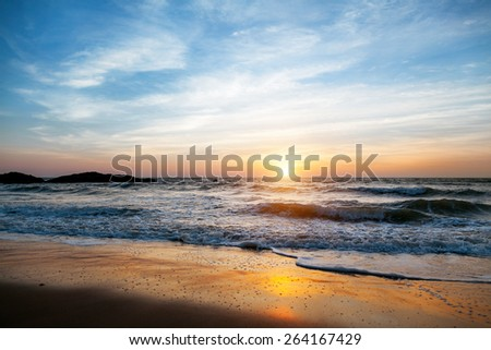 Sunset in Goa. Incredible India. - stock photo