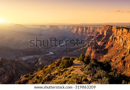 Sunset in Grand Canyon - stock photo
