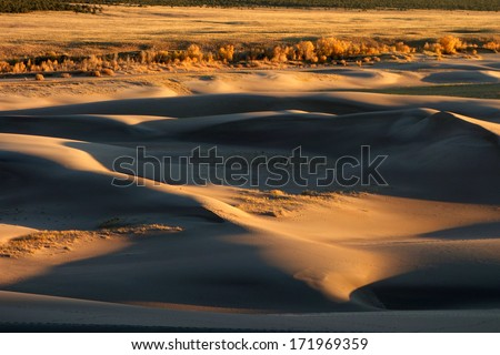 Sunset in Great Sand Dunes National Park, Colorado, United States - stock photo