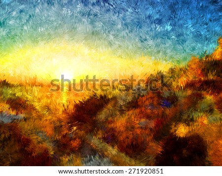 sunset in greece, modern art, oil painting, pastel painting, pencil painting, artistic draw, nature impressionism, hard brush style, relief paint, romantic view, love mood, colorful bright art - stock photo