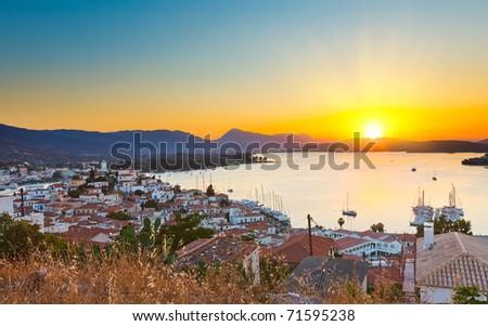 Sunset in Greece, Poros - stock photo