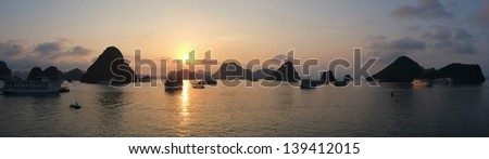 Sunset in Halong Bay, Vietnam, Southeast Asia - stock photo