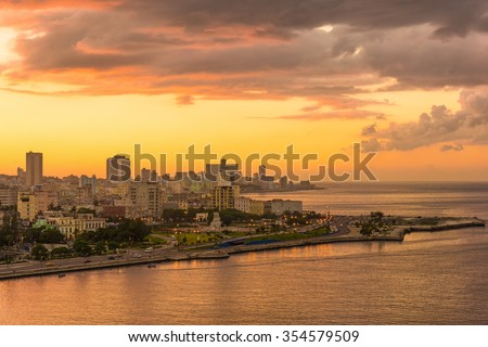Sunset in Havana with a view of the bay and the city skyline - stock photo