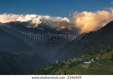 Sunset in Himalaya - stock photo
