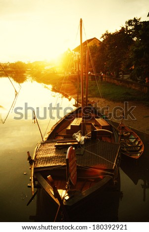 Sunset in Hoi An. Vietnam. Unesco World Heritage Site. - stock photo