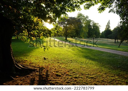 Sunset in Hyde Park - stock photo