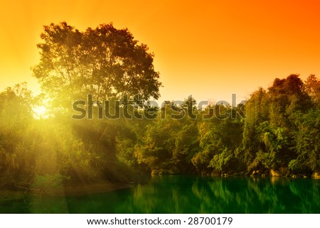 sunset in jungle of Thailand - stock photo