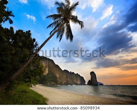 sunset in krabi province Thailand - stock photo