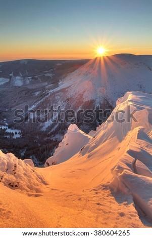 Sunset in Krkonose mountains - stock photo