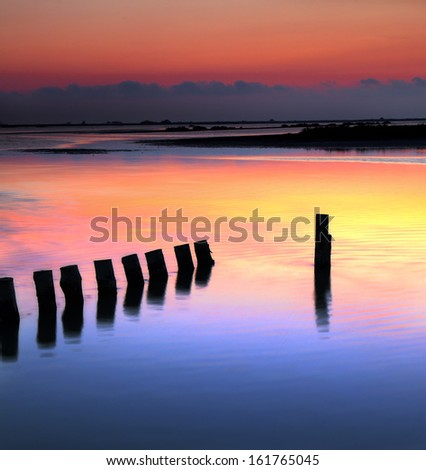 Sunset in la Camargue.Bouches du Rhone,France. - stock photo