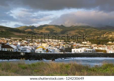 Sunset in Lagoa, Island of Sao Miguel, Archipelago of the Azores, Portugal, Europe - stock photo
