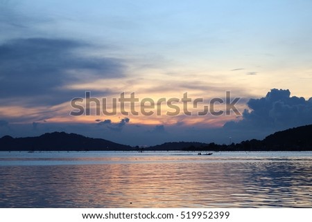 sunset in lake