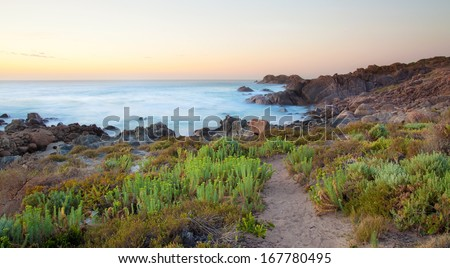 Sunset in Leeuwin Naturaliste National Park, Western Australia - stock photo