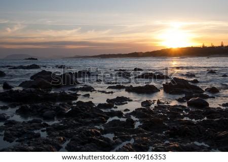 Sunset in Lighthouse Beach, Australia - stock photo