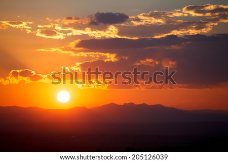 Sunset in magical town of San Miguel de Allende in Guanajuato. - stock photo