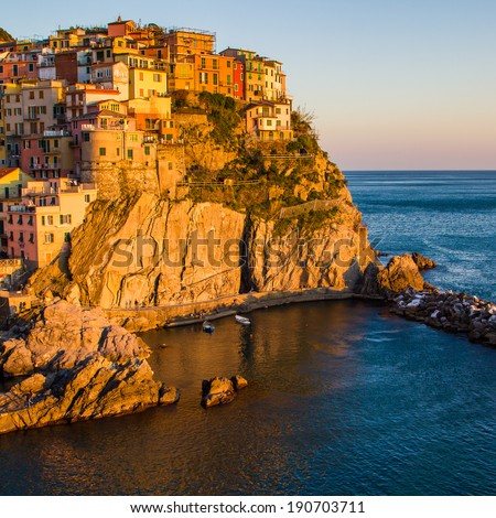 Sunset in Manarola, Cinque Terre, Italy - stock photo