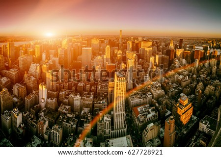Sunset in Manhattan New York