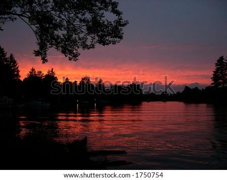 Sunset in Manotick - stock photo